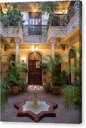 Interior Courtyard Of Villa Des Canvas Print by Panoramic Images