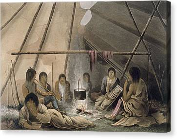 Interior Of A Cree Indian Tent, 1824 Canvas Print by Lieutenant Hood