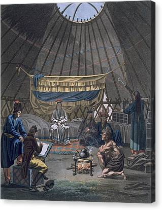 Interior Of A Kalmuk Yurt, 1812-13 Canvas Print by E. Karnejeff