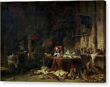 Interior Of An Alchemists Study Oil On Canvas Canvas Print by Louis Eugene Gabriel Isabey
