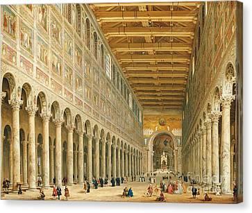 Interior Of San Paolo Fuori Le Mura Canvas Print by Giovanni Paolo Panini