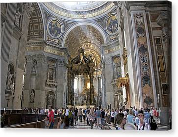 Interior Of St Peter's Dome. Vatican City. Rome. Lazio. Italy. Europe Canvas Print by Bernard Jaubert