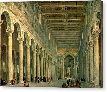 Interior Of The Church Of San Paolo Fuori Le Mura Canvas Print by Giovanni Paolo Panini