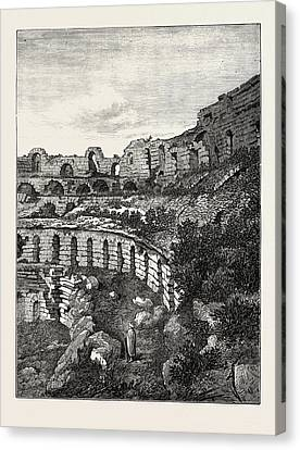 Interior Of The Coliseum At El Djem Canvas Print by English School