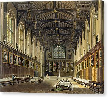 Interior Of The Hall Of Christ Church Canvas Print by Augustus Charles Pugin