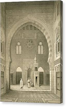 Interior Of The Mosque Of Qaitbay, Cairo Canvas Print by French School