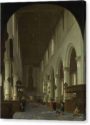 Interior Of The Oude Kerk In Delft From The Choir Canvas Print by Litz Collection