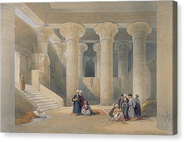Interior Of The Temple At Esna, Upper Egypt, From Egypt And Nubia, Engraved By Louis Haghe Canvas Print by David Roberts