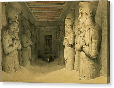 Interior Of The Temple Of Abu Simbel Canvas Print by David Roberts