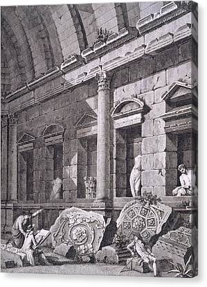 Interior Of The Temple Of Diana, Nimes Canvas Print by French School