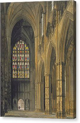 Interior View Of Westminster Abbey Canvas Print by Frederick Mackenzie