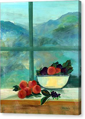 Interior With Window And Fruits Oil & Acrylic On Canvas Canvas Print by Marisa Leon