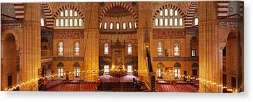 Interiors Of A Mosque, Selimiye Mosque Canvas Print by Panoramic Images