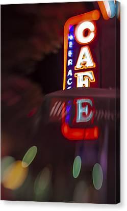 International Cafe Neon Sign At Night Santa Monica Ca Canvas Print by Scott Campbell