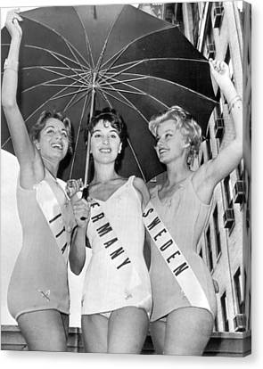 International Lovely Ladies In Miss Universe Contest Canvas Print by Retro Images Archive