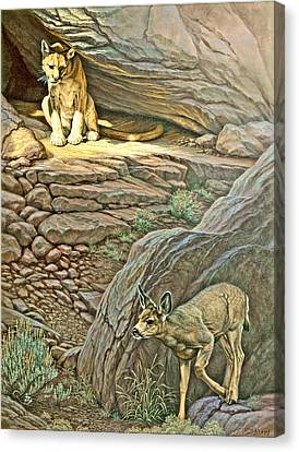 Interruption-cougar And Fawn Canvas Print by Paul Krapf