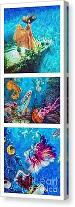 Into Deep Triptic Canvas Print by Mo T