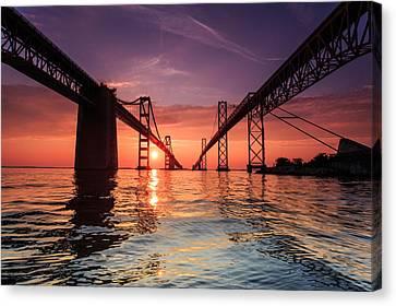 Into Sunrise - Bay Bridge Canvas Print by Jennifer Casey