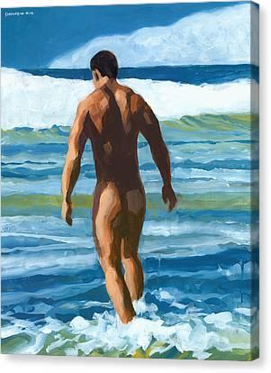 Into The Surf Canvas Print by Douglas Simonson