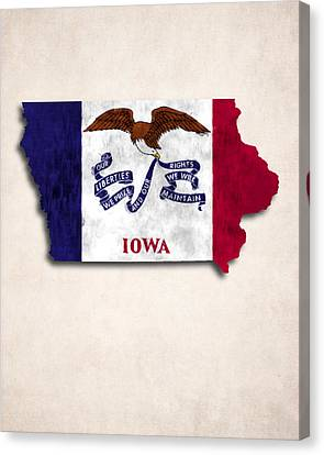 Iowa Map Art With Flag Design Canvas Print by World Art Prints And Designs