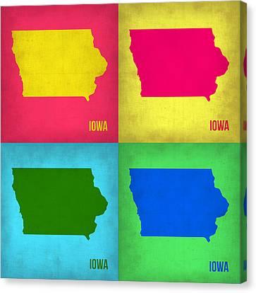 Iowa Pop Art Map 1 Canvas Print by Naxart Studio
