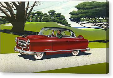 iPhone - Galaxy Case - 1953 Nash Rambler car americana rustic rural country auto antique painting Canvas Print by Walt Curlee