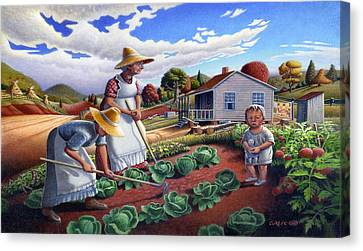 iPhone Case - Family Vegetable Garden Farm Landscape - Gardening - Homestead Canvas Print by Walt Curlee