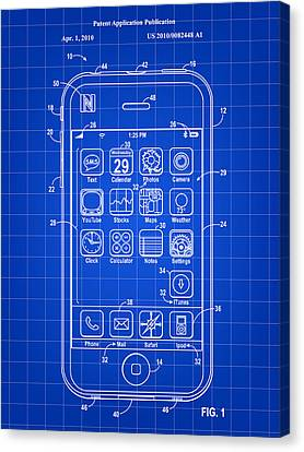 iPhone Patent - Blue Canvas Print by Stephen Younts