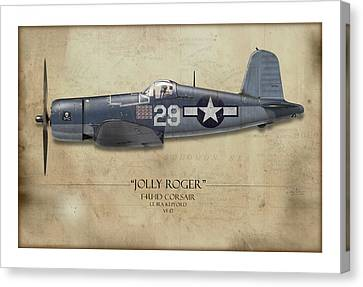 Ira Kepford F4u Corsair - Map Background Canvas Print by Craig Tinder