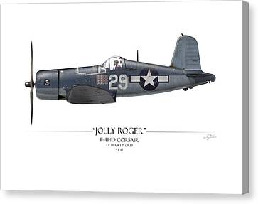 Ira Kepford F4u Corsair - White Background Canvas Print by Craig Tinder