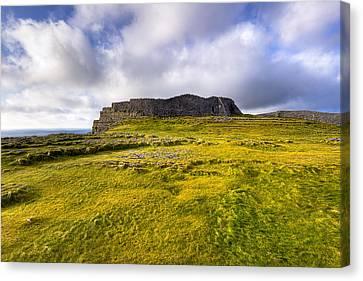 Iron Age Ruins Of Dun Aengus On The Irish Coast Canvas Print by Mark E Tisdale