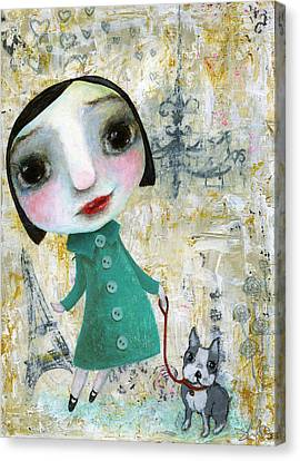 Isabelle And Her Dog Canvas Print by Shirley Dawson