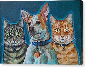 Isabelle Chloe And Ratchett Canvas Print by Beth Clark-McDonal