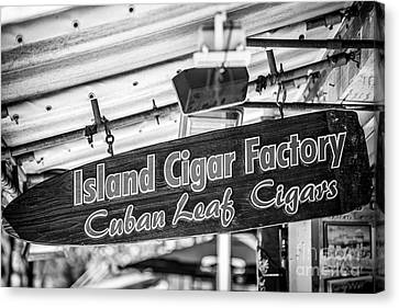 Island Cigar Factory Key West - Black And White Canvas Print by Ian Monk