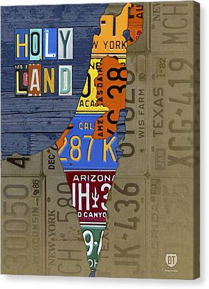 Israel The Holy Land Map Made With Recycled Usa License Plates Canvas Print by Design Turnpike