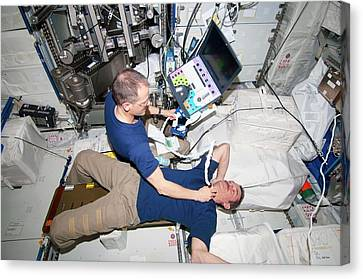 Iss Astronaut Ultrasound Scan Canvas Print by Nasa