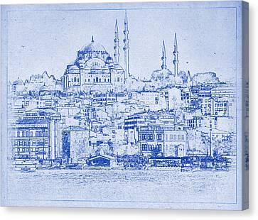 Istanbul Skyline Blueprint Canvas Print by Kaleidoscopik Photography