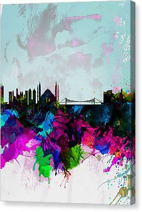 Istanbul Watercolor Skyline Canvas Print by Naxart Studio