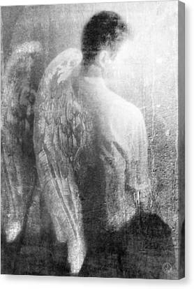 Male Angel Canvas Print featuring the digital art It Is Not Easy... by Gun Legler