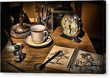 It Was All Started By A Mouse - Walt Disney's Desk Canvas Print by Lee Dos Santos