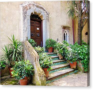 Italian Door And Staircase In Ravello Canvas Print by Marilyn Dunlap