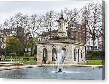 Italian Fountain In London Hyde Park Canvas Print by Semmick Photo