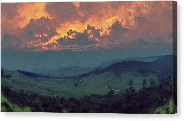 Italian Hills Sunset Canvas Print by Lonnie Christopher