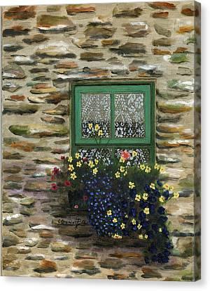 Italian Lace Window Box Canvas Print by Cecilia Brendel