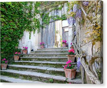 Italian Staircase With Flowers Canvas Print by Marilyn Dunlap