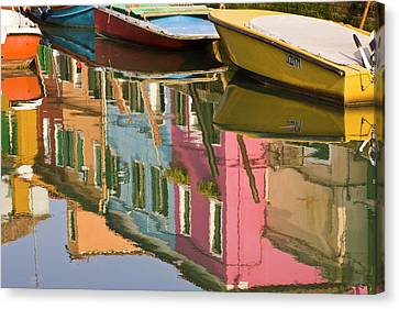 Italy, Burano Boats On A Canal Canvas Print by Jaynes Gallery