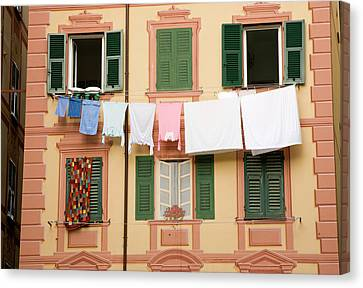 Italy, Camogli Laundry Hangs Canvas Print by Jaynes Gallery