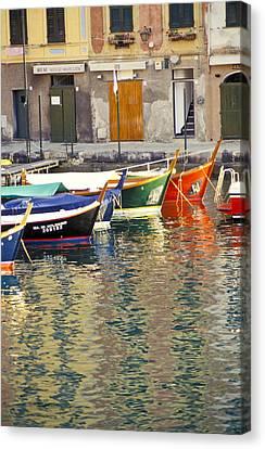 Italy Portofino Colorful Boats Of Portofino Canvas Print by Anonymous