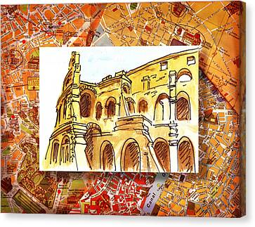 Italy Sketches Rome Colosseum Ruins Canvas Print by Irina Sztukowski