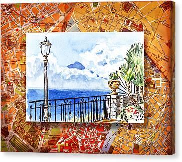 Italy Sketches Sorrento View On Volcano Vesuvius  Canvas Print by Irina Sztukowski